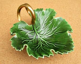 vintage 40s green leaf dish gold gilt split handle maysel deter denver hand made
