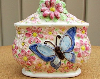vintage 80s pink floral ceramic napkin holder with blue butterfly hand made