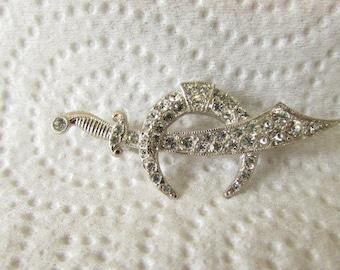 vintage 40s rhinestone shriners mason scimitar sword pin brooch ora signed