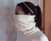 Ivory and cream dream flower, Running Scarf, cowl, gator, Ski Mask, snood, tube scarf