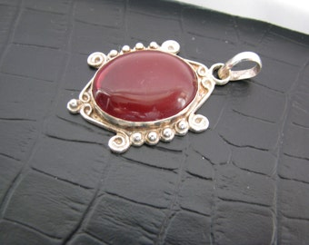 Ruby Quartz Pendant, Red Gemstone Pendant, Unique Antiqued Silver Pendant, Minimalist Jewelry