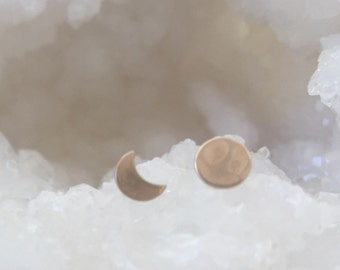 Gold moon earrings, 1 crescent, i full moon, lunar phase. Brass studs