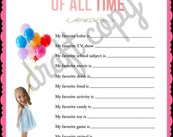 Girls Birthday Party Game   My favorite things   Instant Downlad with your picture!