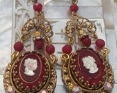LADY IN RED cameo antique  vintage assemblage earrings