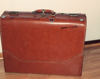 Vintage 40s/50s Westminster Brown Leather Luggage Suitcase