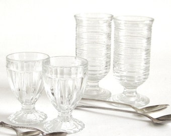 Footed Parfait Cups, Glass Dessert Dishes, Art Deco Sundae Dishes + Silverplate Spoons