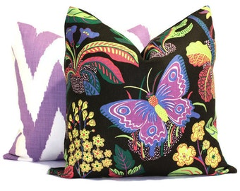 Exotic Butterfly in Black Decorative Pillow Cover 18x18, 20x20, 22x22, 24x24, Eurosham or Lumbar Pillow, Floral pillow, Josef Frank pillow