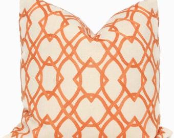 Decorative Pillow Cover, Orange Embroidered Trellis 18x18, 20x20, 22x22, Eurosham or Lumbar Pillow Cover, Throw Pillow, Pillow Cushion