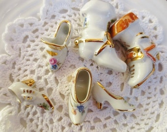 LIMOGES Shoe Boot Figurine Vintage Miniature Collection France White Gold Lot of 6