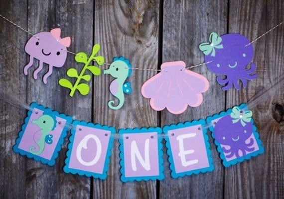 Under The Sea Girly Teal And Purple High Chair Banner Octopus