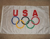Olympics Flag-USA 1984 -5 foot Olympics flag 5 rings-Los Angeles Games-USA spirit at Rio Olympics games 2016- 1984 souvenir-memorabilia