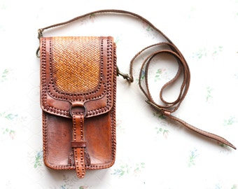 Leather Satchel Cross Body Pouch - Antique Steampunk Small Handbag - woven Wicker Detail