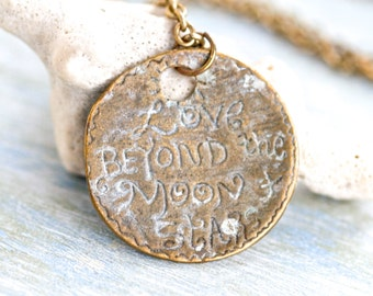 Love Beyond the moon and Stars - Necklace - Medallion on Chain