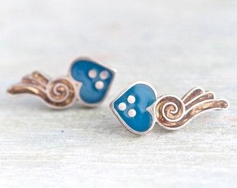 Comet Hearts - Sterling Silver Earrings - Vintage Jewelry