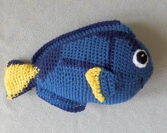 """Made to order, Hand crocheted blue Tang Fish Dory like Doll 12"""" long"""