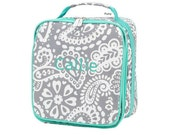 Personalized Kids Parker Paisley Print Lunch box bag Girl monogram