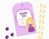 Personalized Printable Rapunzel Favor Tag - Printable Tags for Princess Birthdays, Rapunzel Printable Party Tags .. rp03