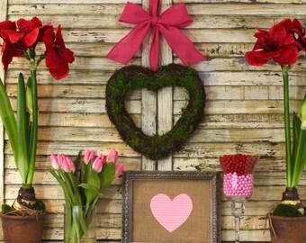 Handmade Heart Wreath - Valentine Wreath - Pink Wreath - Valentine Party Decor - Choose Bow-Quick Ship