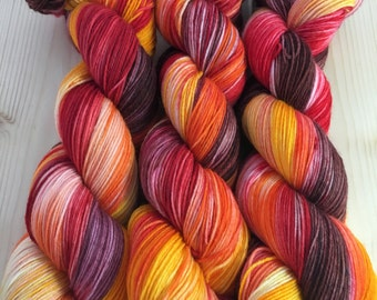 Fawkes- Hand Dyed Merino and Nylon Sock Yarn Kabuki