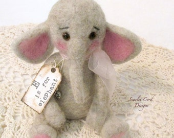 Needle Felted Elephant, Vintage Look Plush Elephant, Baby Elephant, Vintage Style Elephant, Fiber Art Toy, Needle Felted Animal