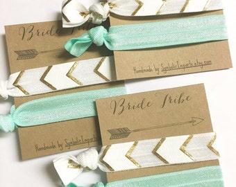 Bride Tribe Bachelorette - Bride Tribe Hair Ties - Bachelorette Party Favor - Bridesmaids Gift - Bohemian Metallic Gold Boho Tribal Aztec