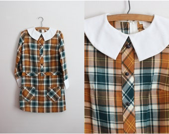 50s Vintage Plaid Dress / Children Dress / Peter Pan Collar Dress / Girls Vintage Dress/ Size 11