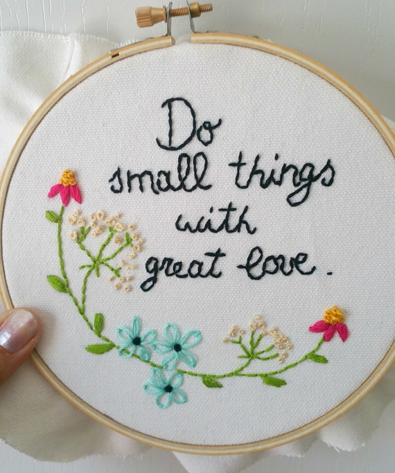 Inspirational quote embroidered hoop art wall decor