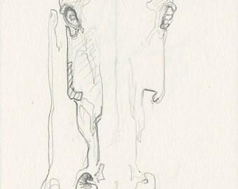 Horse Head Original Pencil Sketch, Animal Art, Contemporary Original Fine Art, Quick Study