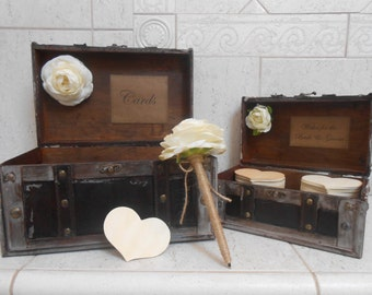 Wedding Card Trunk / Wedding Wishes Box / Wedding Card Box / Rustic Wedding Trunk / Rustic Wedding Decor / Wedding Decorations / Trunks
