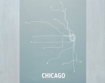 Chicago Screen Print- Steel Blue/White