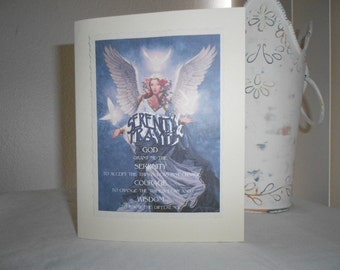 SERENITY PRAYER across Angel image greeting card