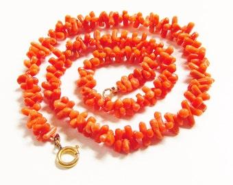 Vintage Orange Coral Branch Necklace Mid Century