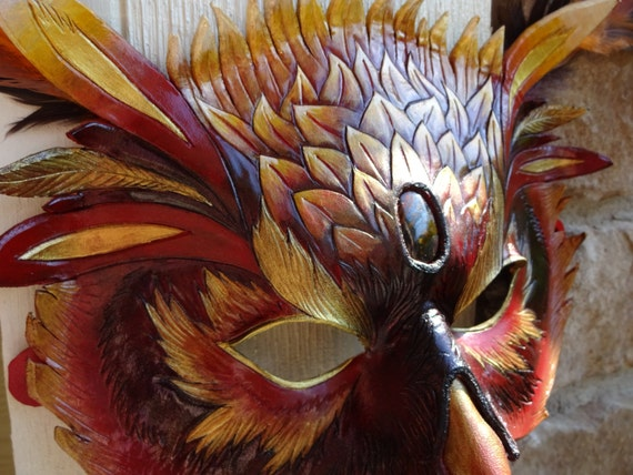 Living on Fire - Made to Order  Fire Owl Phoenix Leather Fantasy Bird Mask Masquerade Carnivale Mardi Gras