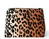 Leopard Print Cosmetic Case / Makeup bag, Bridal Shower, Bachelorette Party Favor, Bridesmaid Gift SALE