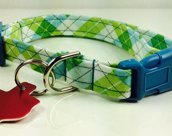 Blue and Green Plaid Collar - Adjustable