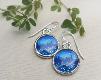 Night Sky with Fireflies Earrings Silver