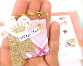 Paper Banner Gold Crown Pink Paper Clip | Left Side Delightful Banner Paper Clip. Bookmark | Planner Clip & Accessories. Novelty Paper Clips