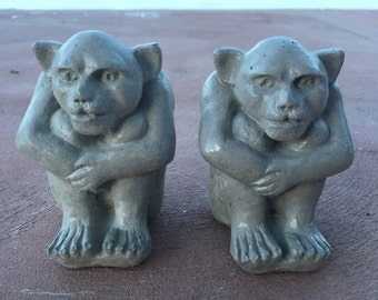 Concrete Garden Gargoyle Creature Statue - Set of 2