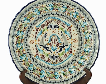 """Vintage Talavera La Colonial Puebla Mexico Hand Painted 15"""" Charger Platter with Scalloped Edge"""