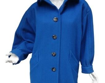 Vintage SAINT LAURENT rive gauche Blue Wool Oversized Coat Jacket FR38