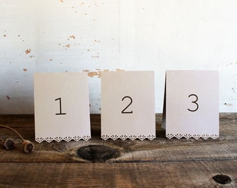set of 10 mocha brown tented table number cards for wedding, shower, party - whimsy