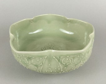 Thrown Serving Bowl - Folk Art Green Bowl with feet - Sakura - Cherry Blossom