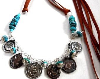 SALE - Handmade Jewelry, OOAK, Mixed Metalwork, Southwest, Boho, Tribal,  Kokopelli Medallion, Blue Turquoise, Saddle Leather Necklace