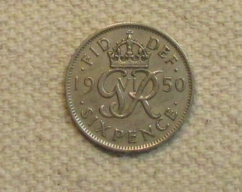 6 Pence Wedding Gift : 1950 Wedding Great Britain sixpence, 6 pence, world coin of the early ...