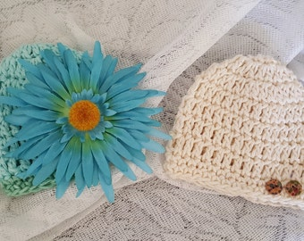 Baby Crochet Hat Beanie Set of Two Newborn Girl 0-3 Months Organic Cotton Hair Accessory FREE SHIPPING Ready to Ship