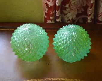 Pendant Light or Flush Mount Globes, Pressed Glass Aqua Luster