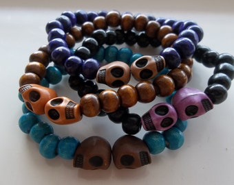Multi Colored Skulls with Wood- Stack Set of Four-Goth-Day of Dead- Beaded Stretch Bracelet-Unisex  (250)