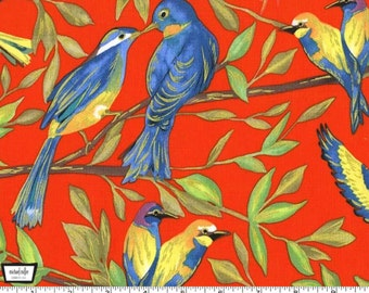 Valencia - Bird Kiss Orange with Metallic Accents by Laura Gunn from Michael Miller