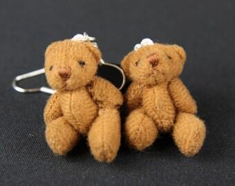 [BUNDLE] [OR00641B] Teddy earrings earrings of Miniblings Teddy bear Teddy earrings plush Brown