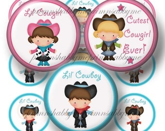 Bottle Cap Images,  Digital Collage Sheet, Cowboy, Cowgirl, 1 Inch Circle , Instant Download, Magnets, Key Rings, Cupcake Toppers, Cards